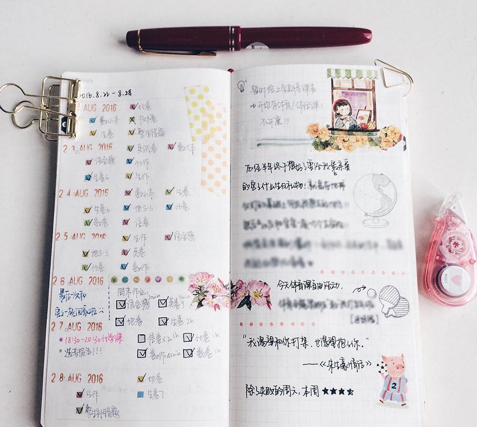 高三女生手绘精美手账,每天列计划清单